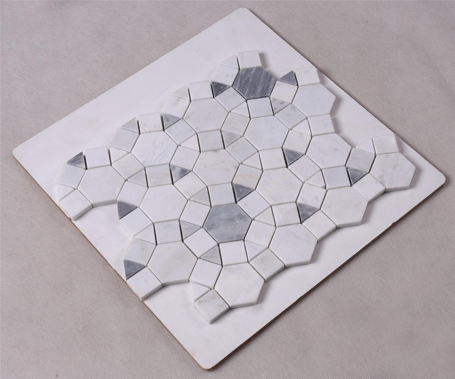 product-Heng Xing-Gray Mixed Carrara White Marble Mosaic Tile for Wall Decoration-img