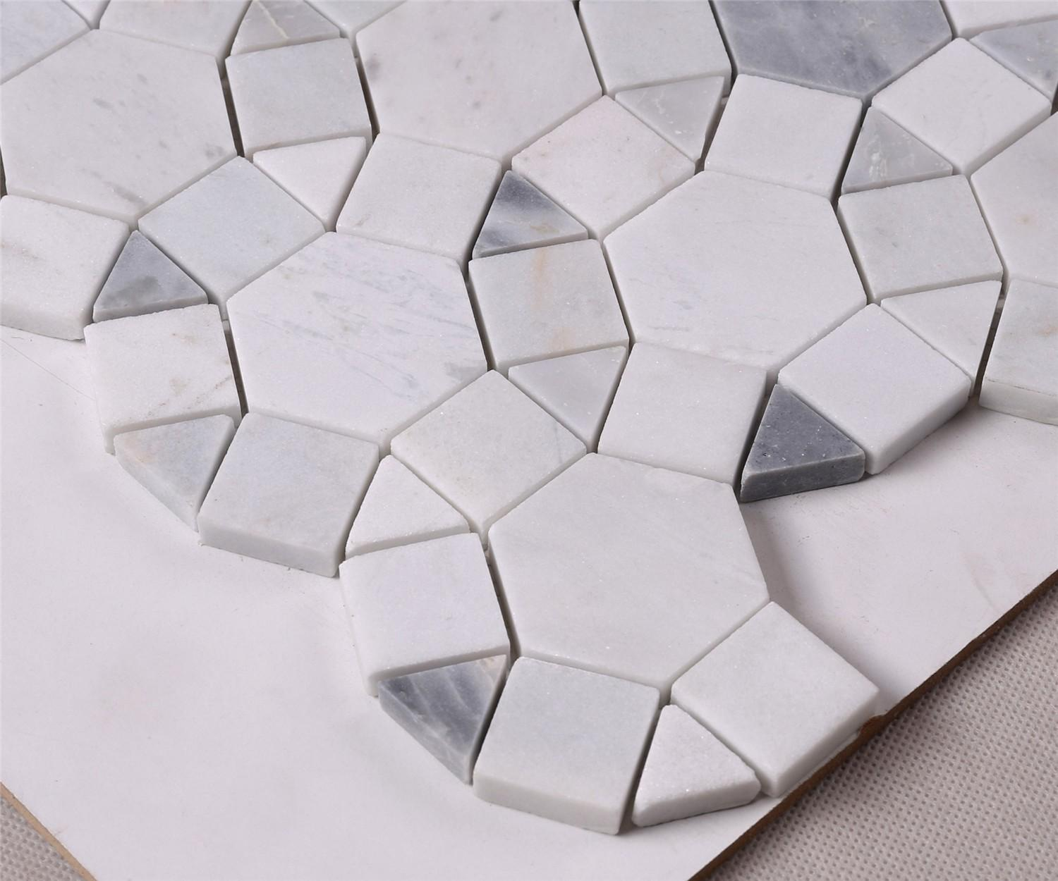 product-Gray Mixed Carrara White Marble Mosaic Tile for Wall Decoration-Heng Xing-img