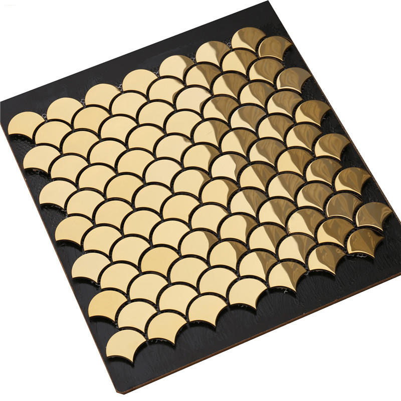 Wall Decor Gold Fish Scale/Fan Shaped  Mosaic Tile