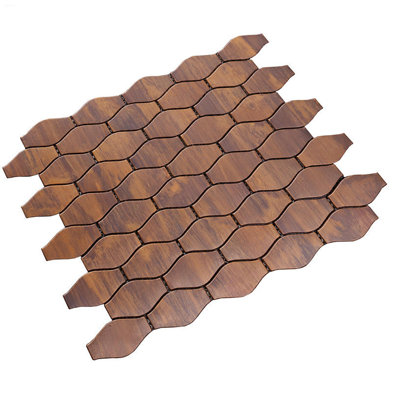 Leaf Shape Bronze Mosaic Tile for Wall Decoration