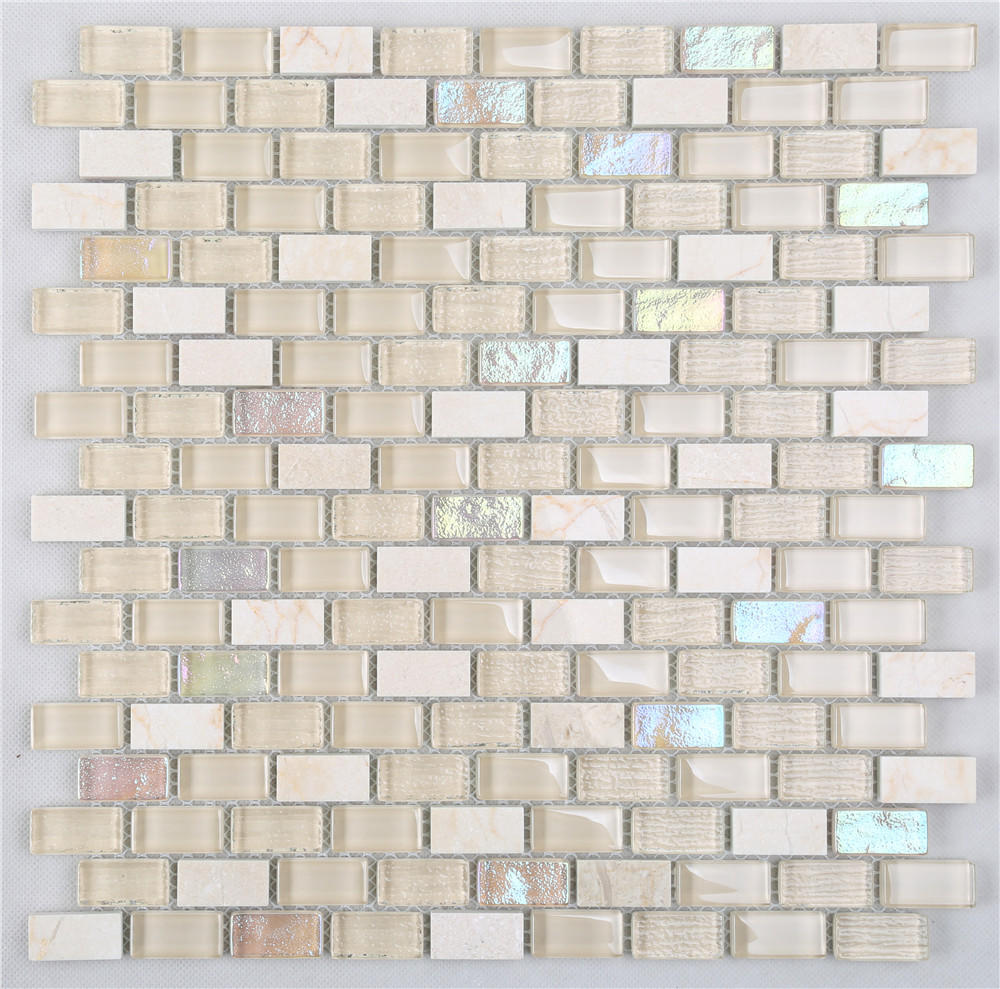 Yellow Iridescent Small Chips Glass Mosaic Mix Stone HSPA06