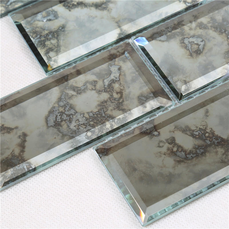 Antique Pattern Silver Subway Tile Rectangle Shape Mirror Mosaic Tile HFG21