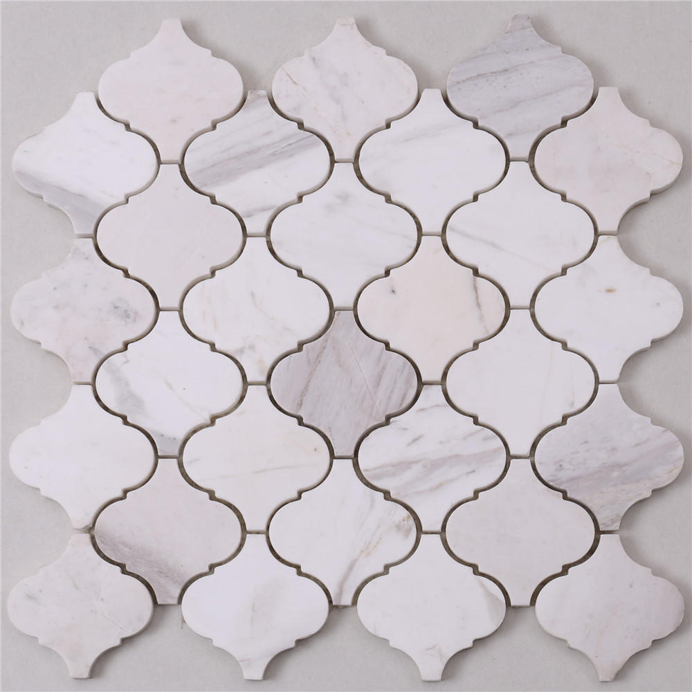 B803 Lantern Carrara White Marble Stone Flooring Mosaic Tiles
