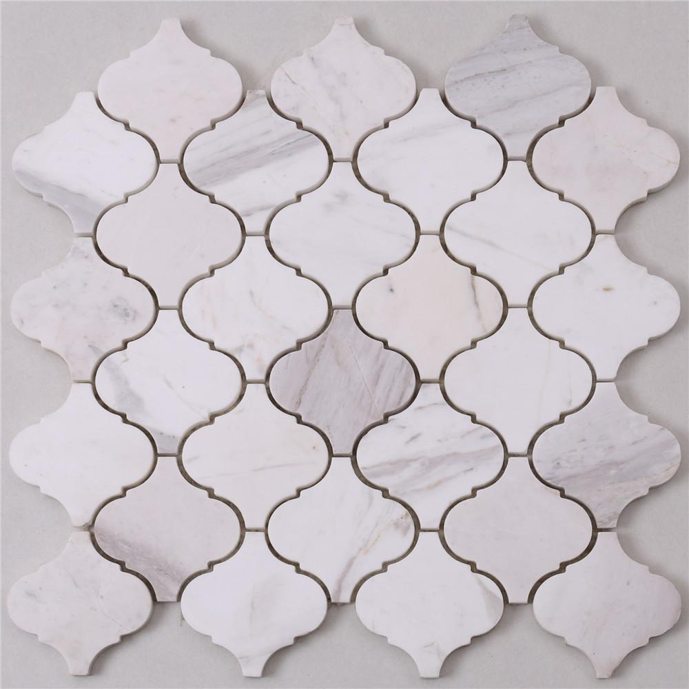 golden marble glass mosaic tile white for business for kitchen-1