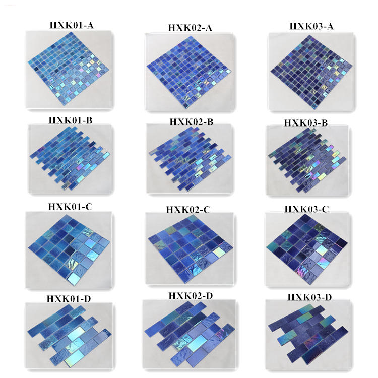 Ideal Outdoor Ocean Blue Iridescent Swimming Pool Mosaic Tiles HXK02-B