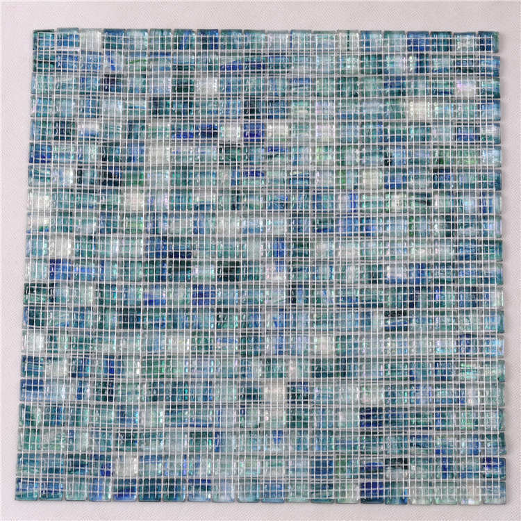 Iridescent Blue Glass Mosaic Tiles for Swimming Pools Fountain Spa NF763