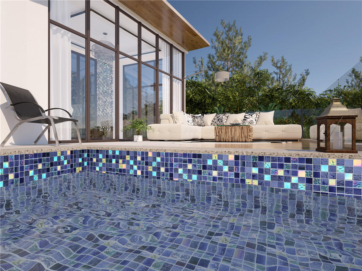 Purple Blue Electroplating Starry Sky Glass Mosaic Tiles for Swimming Pool
