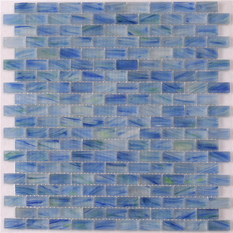 Luxury Blue Glass Mosaic Pool Tiles Sheets for Swimming Pool NM765