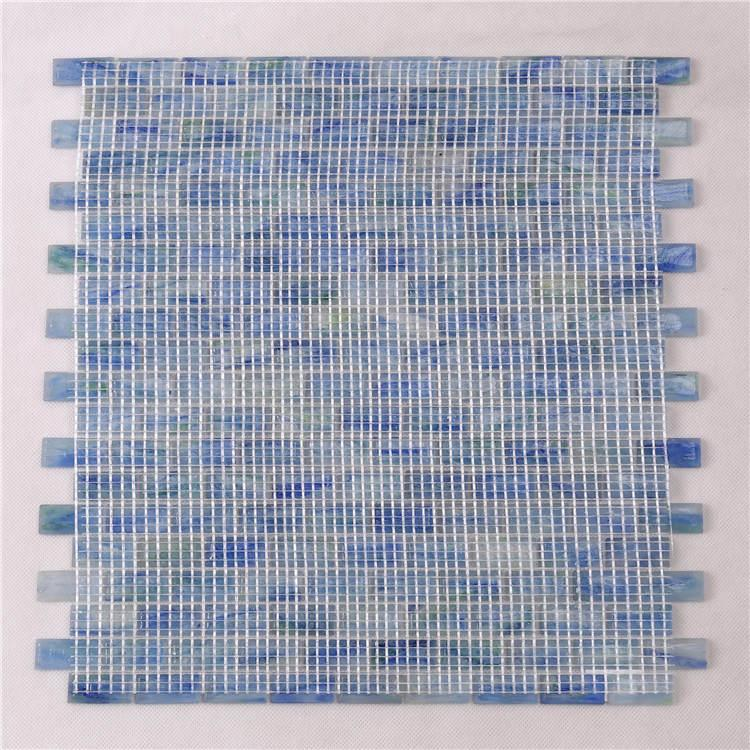 product-Heng Xing-Luxury Blue Glass Mosaic Pool Tiles Sheets for Swimming Pool NM765-img