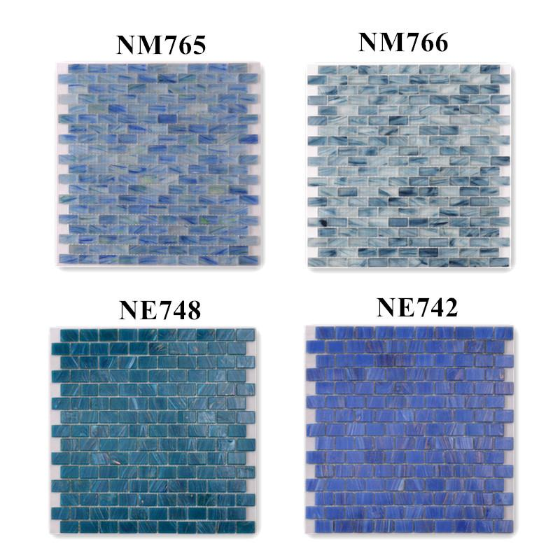 product-Luxury Blue Glass Mosaic Pool Tiles Sheets for Swimming Pool NM765-Heng Xing-img