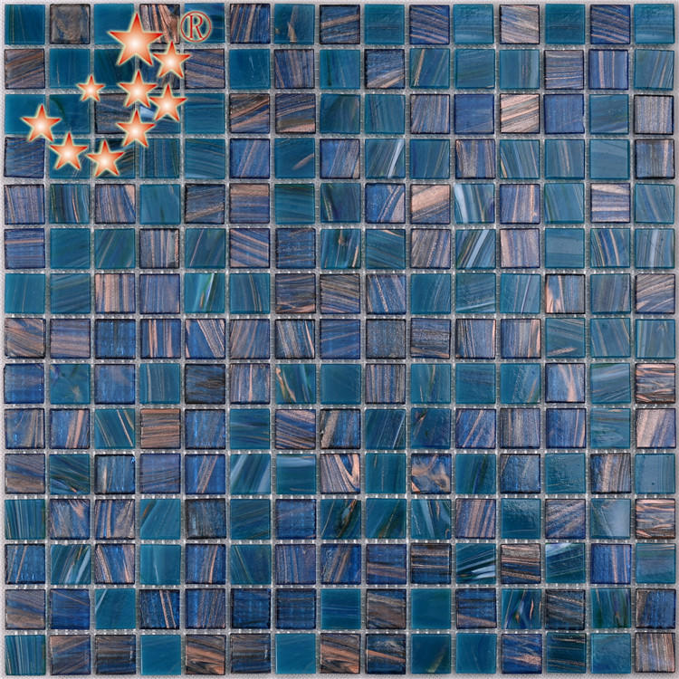 China Dark Blue Swimming Pool 4mm Thickness Glass Mosaic Tile NO-303E