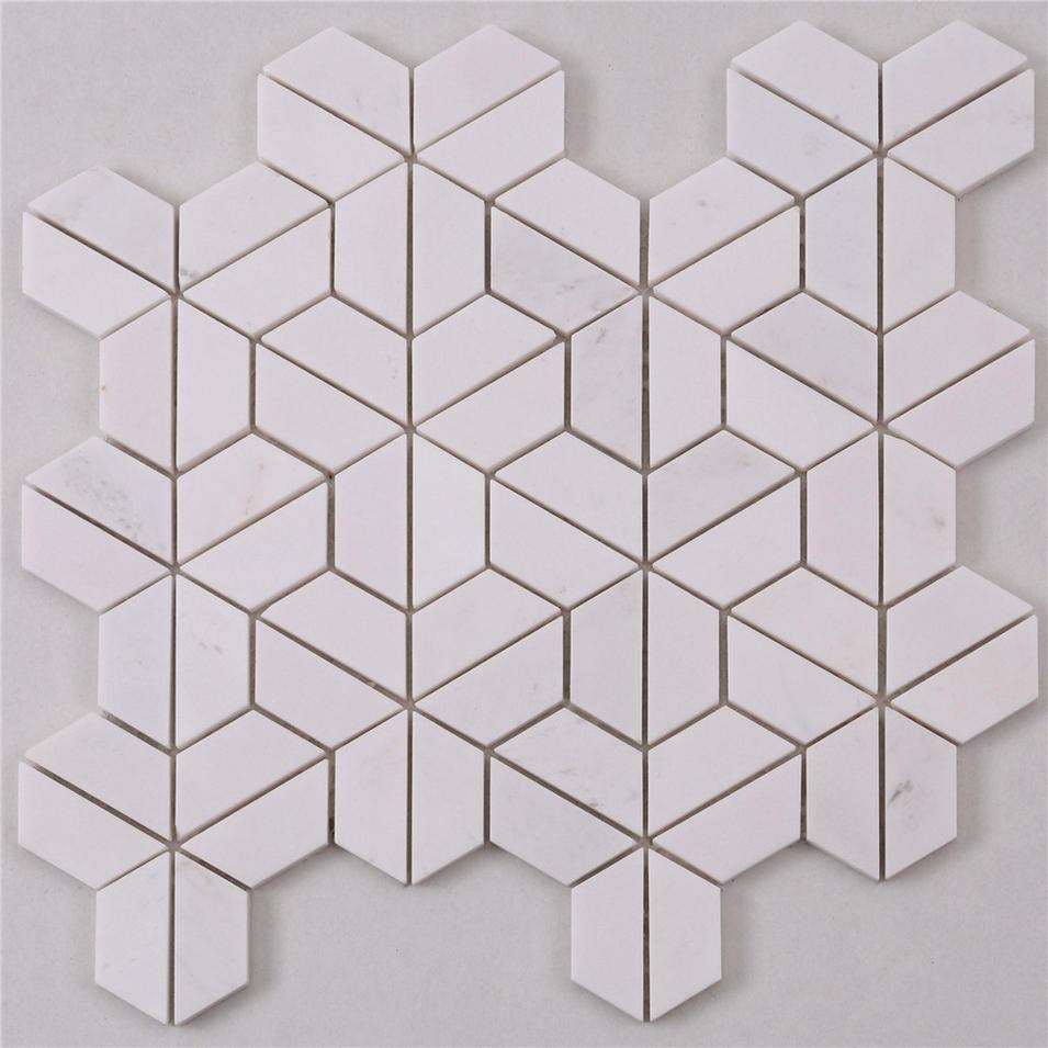 HTA5 Basket Italian White Stone Marble Mosaic Flooring Tile