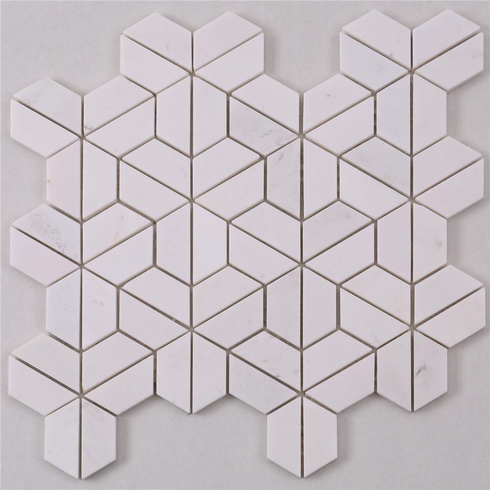 product-HTA5 Basket Italian White Stone Marble Mosaic Flooring Tile-Heng Xing-img