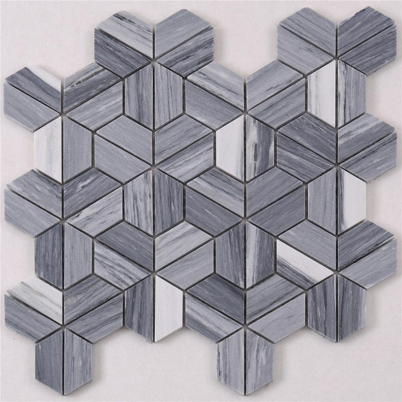 HTA6 Arrow Shape White Gray Stone Marble Mosaic Backsplash Tile