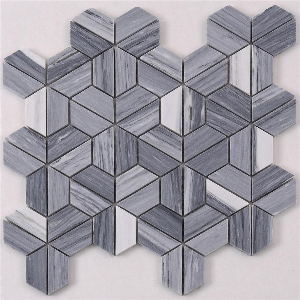 HTA6 Arrow Shape White Gray Stone Marble Mosaic Backsplash Tile