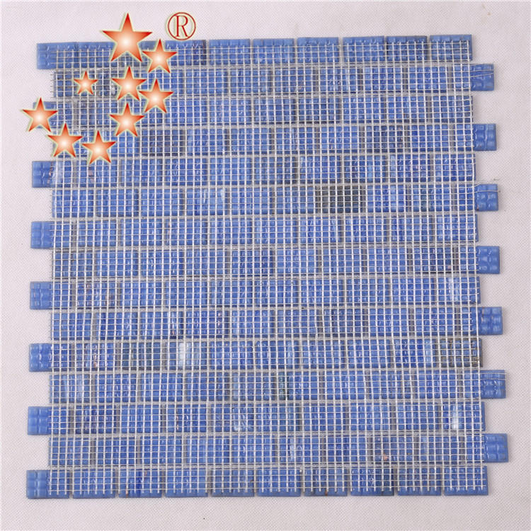 Ocean Blue Interlocking Glass Crystal Mosaic Bathroom Tiles NE742