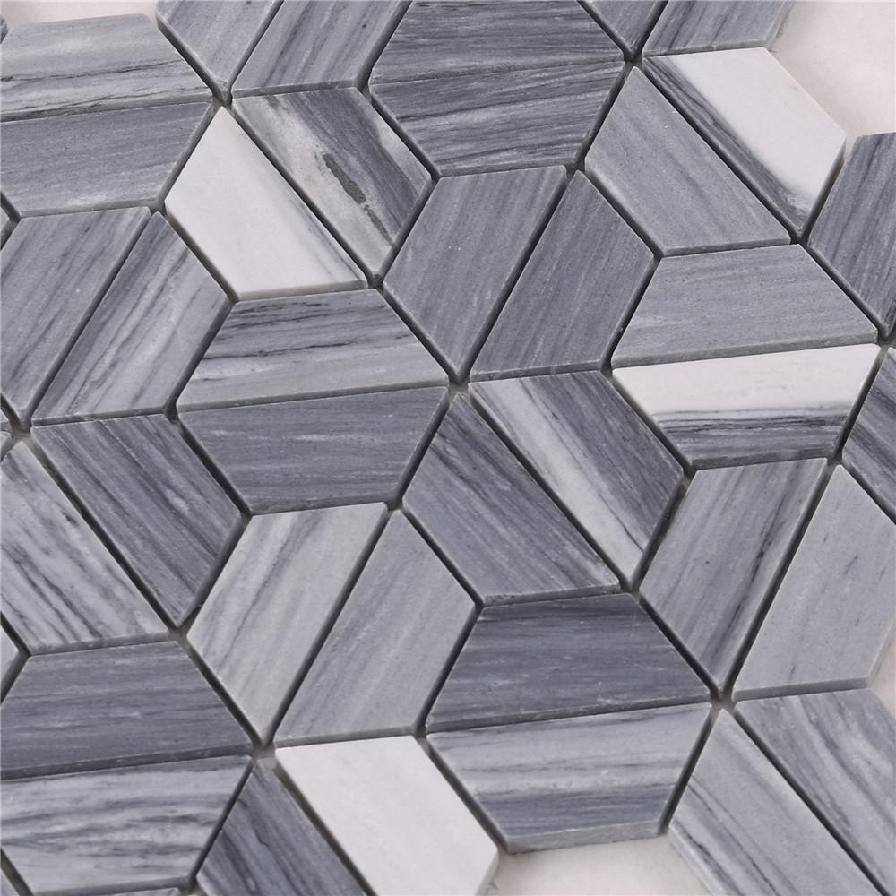 product-Heng Xing-HTA6 Arrow Shape White Gray Stone Marble Mosaic Backsplash Tile-img