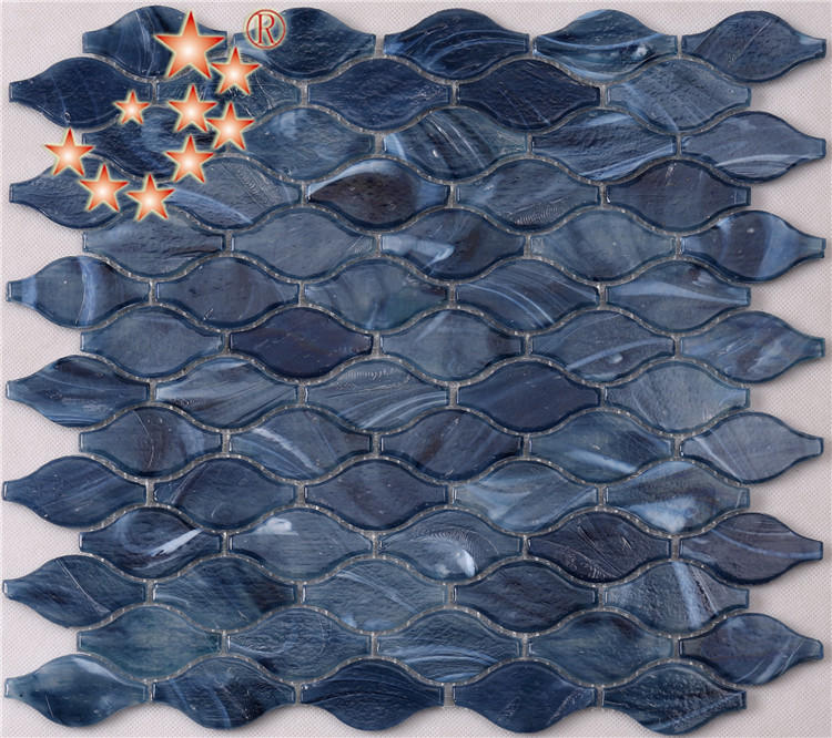 Azure Blue Latern Shaped Mosaic Wall Tiles Ideal for Bathroom K792-1