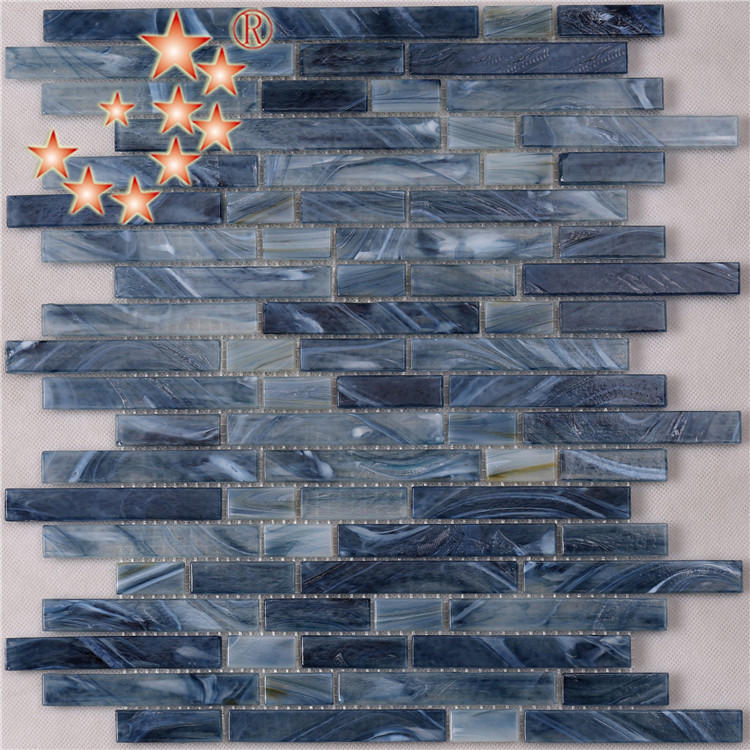 Azure Crystal Glass Strip Mosaic Tile from Foshan Factory NT764