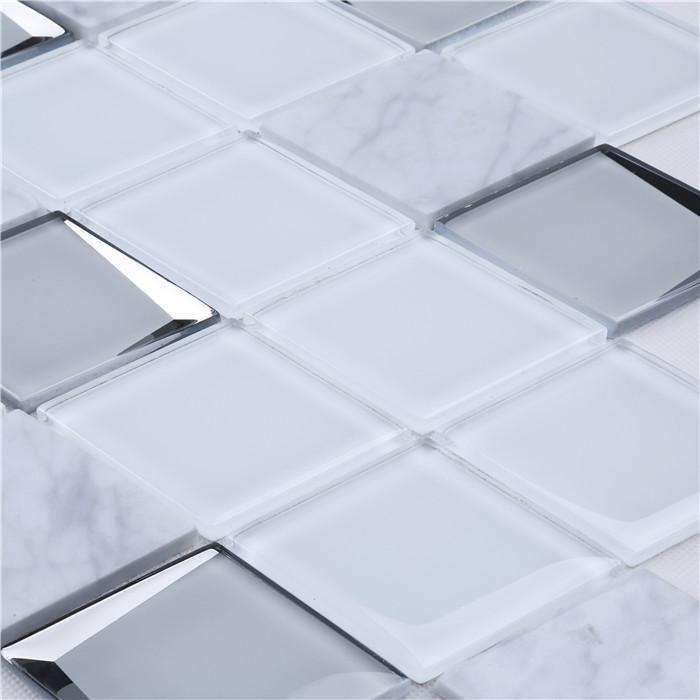 product-Premium White 3d Diamond Shape Glass Carrara Marble Mosaic Wall Tiles HMB247-Heng Xing-img