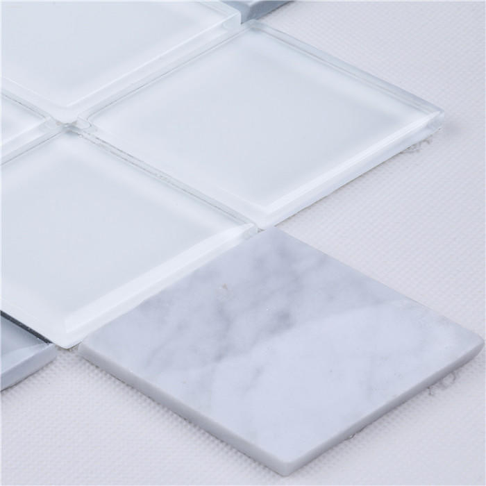Premium White 3d Diamond Shape Glass Carrara Marble Mosaic Wall Tiles HMB247