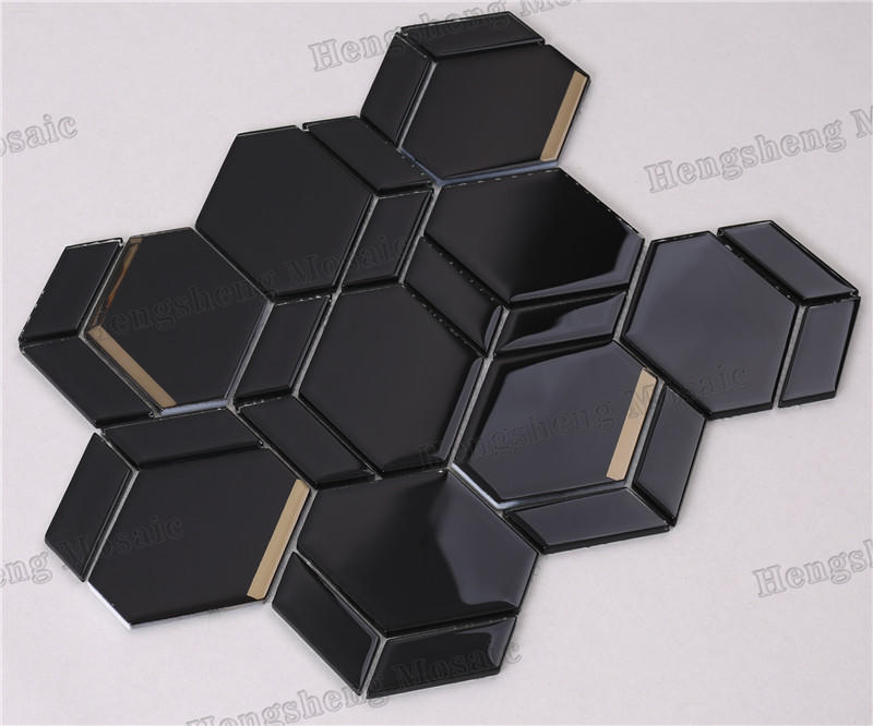 Modern  Irregular Beveled Mix Pattern Glass Mosaic Tiles HMB275