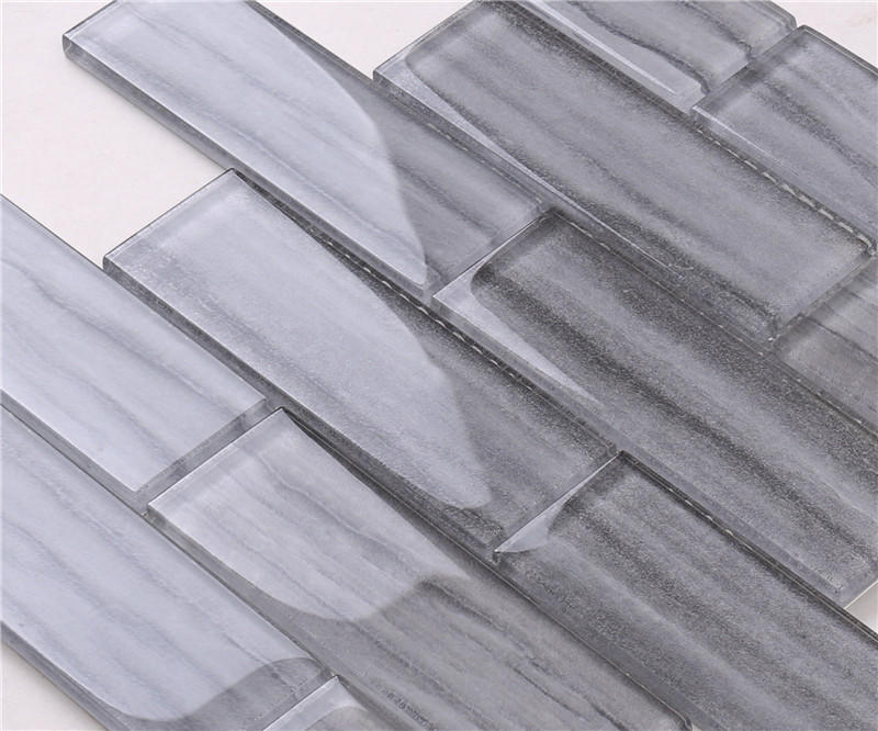 Newly Marble Look Grey Glass Mosaic Tile For Indoor / Outdoor Wall Docoration HSGW14-C