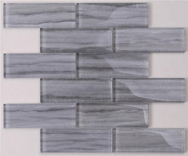 product-Heng Xing-Newly Marble Look Grey Glass Mosaic Tile For Indoor Outdoor Wall Docoration HSGW1