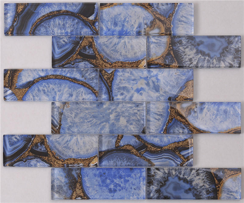 Luxury Agate Jade Glass Mosaic Tile for Feature Wall Decoration --HSGW12-D