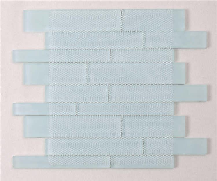 Heng Xing white gray glass subway tile backsplash for business-5