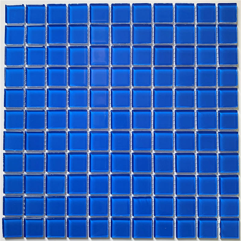1x1 Blue Crystal Glass Mosaic for Swimming Pool HSL0077