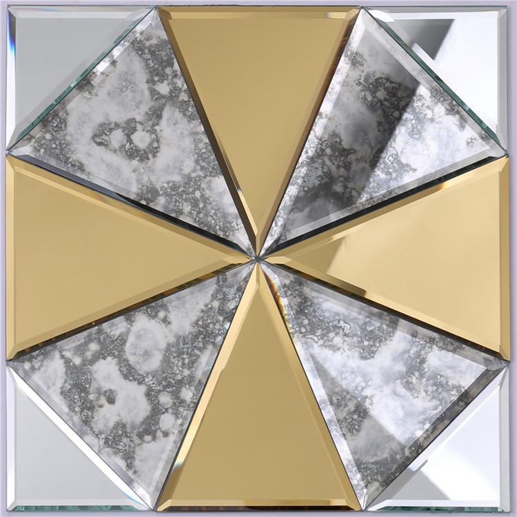 Gold and Silver Glass Mosaic Mirror Tiles for Wall Decoration HSPJ12
