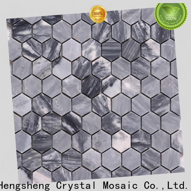 Heng Xing white marble glass mosaic tile factory for living room