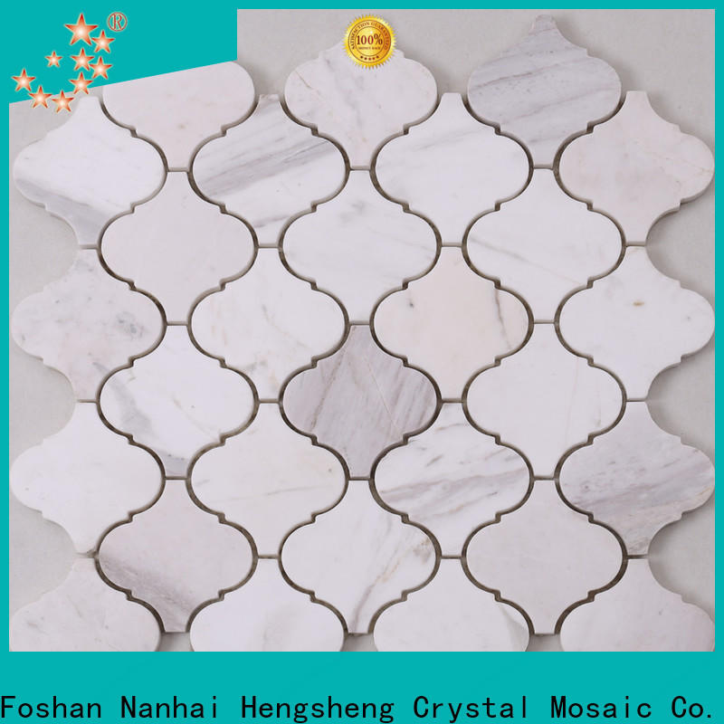 golden marble glass mosaic tile white for business for kitchen