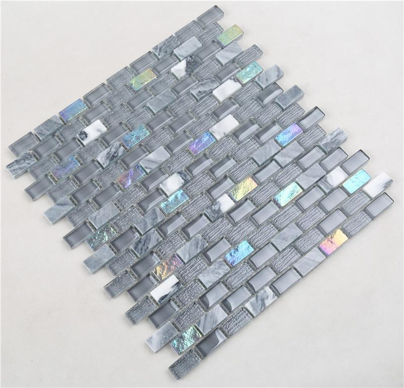 Heng Xing golden marble glass mosaic tile Supply for kitchen-2