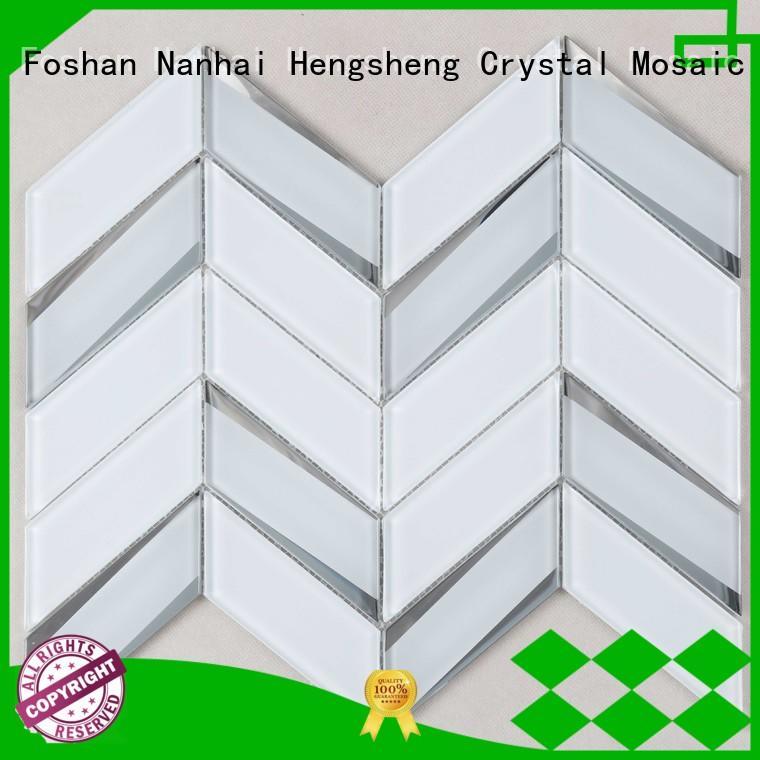 metallic glass mosaic tile engraved for living room Heng Xing