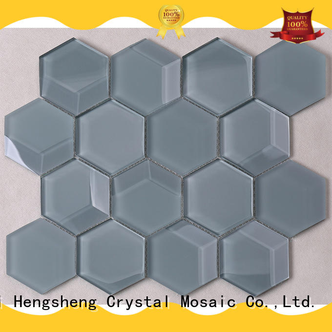 3D Bevel Hexagon Decorative Glass Mosaic Tile