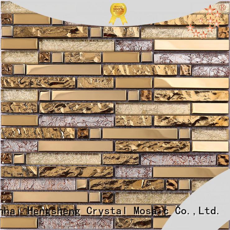 Heng Xing crystal black glass tile backsplash factory for living room