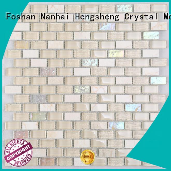 Heng Xing herringbone glass stone mosaic tile Supply for living room