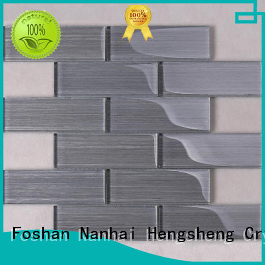 glass brick tiles for kitchen herringbone for villa Heng Xing