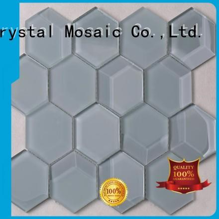 Heng Xing beveled green glass tile factory price for villa