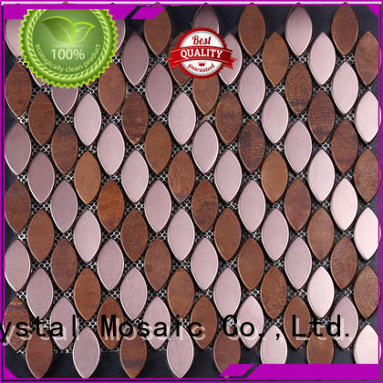 Heng Xing durable metallico glass and copper chevron mosaic buy series for living room