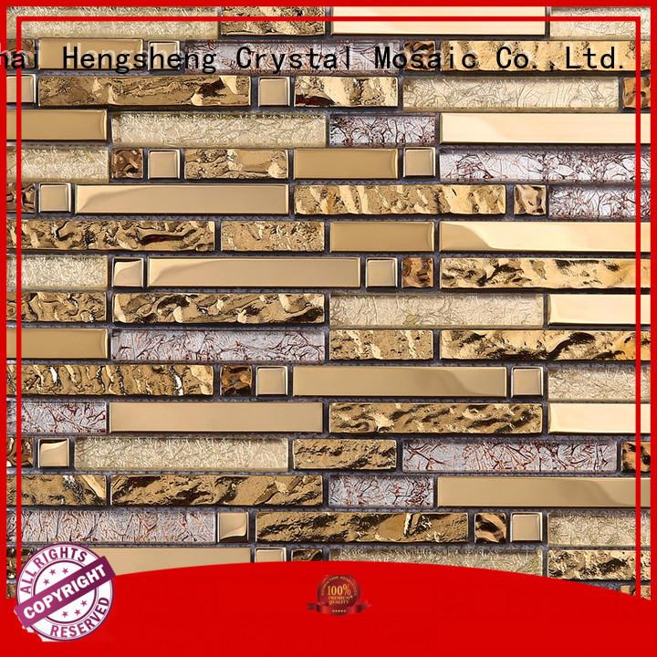 golden mosaic glass supplier for kitchen Heng Xing
