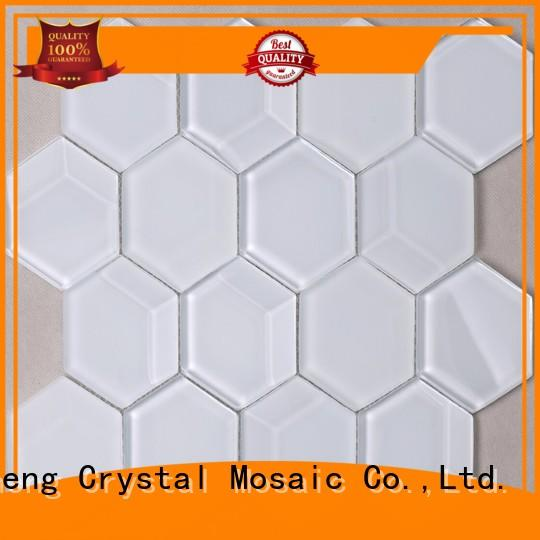 trapezoid metallic glass tile hmb23 for living room Heng Xing