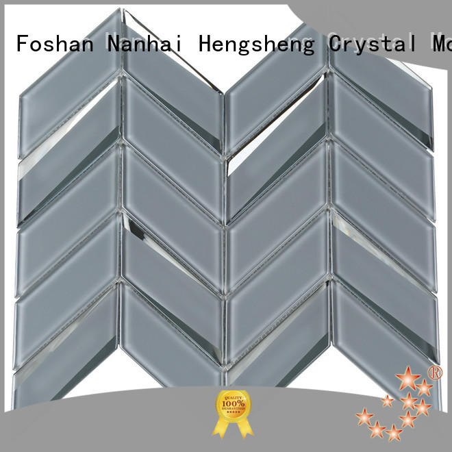 Gray Beveled Herringbone Mosaic Tiles