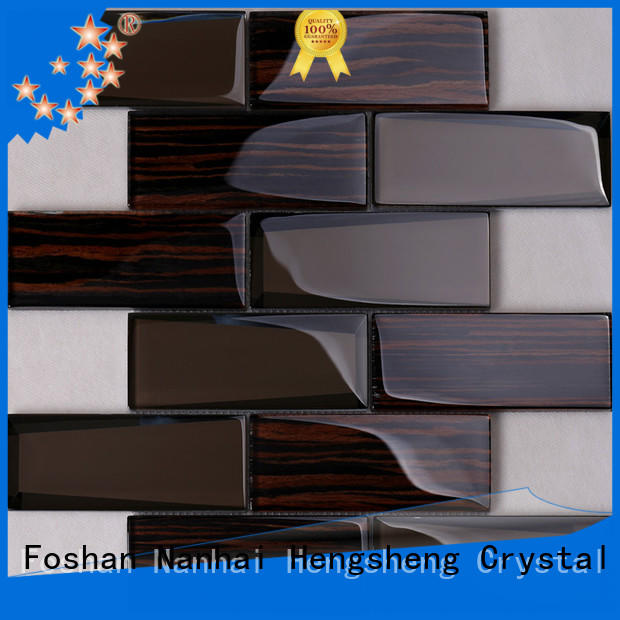 Heng Xing home black glass tile wholesale for living room