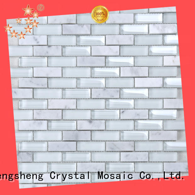 Heng Xing crystal blue beveled subway tile factory price for living room