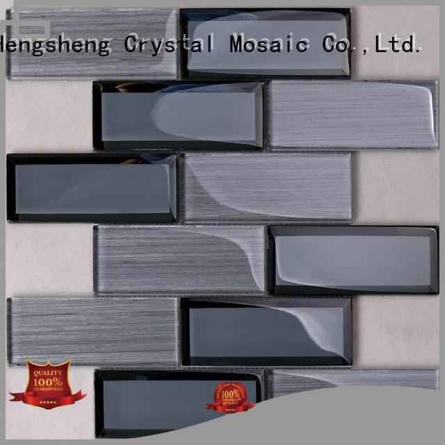 beige glass metal mosaic tile supplier for hotel Heng Xing