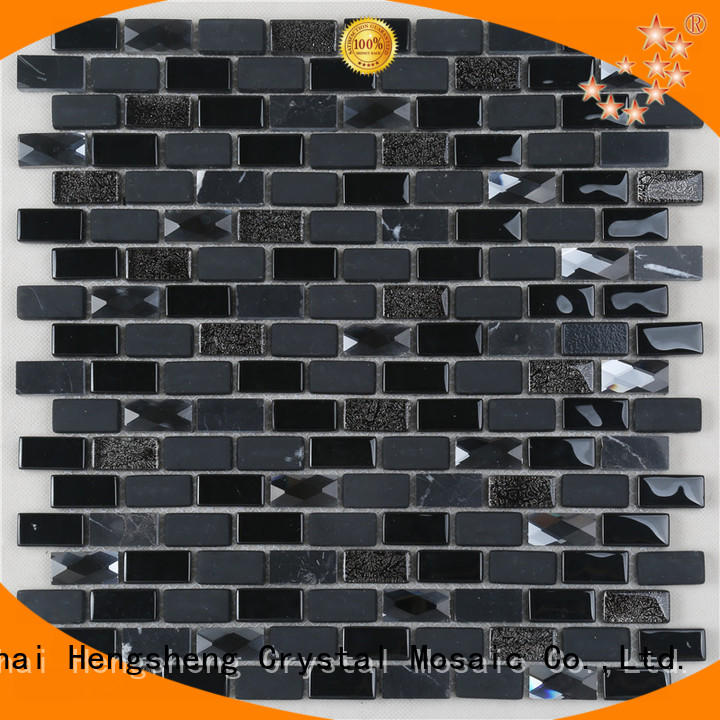 Heng Xing metal stone glass mosaic tilessmoky mountain square tiles with marble backsplash wall stickers Supply for bathroom