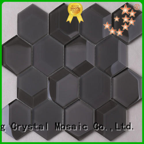 Modern Black Beveled Hexagon Mosaic Tile HMB81